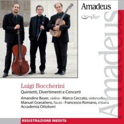 Quintetti, divertimenti e concerti [Audioregistrazione] / Boccherini ; Amandine Beyer, violino ; Marco Ceccato, violoncello ; Manuel Granatiero, flauto ; Francesco Romano, chitarra ; Accademia Ottoboni