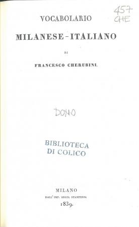 Vocabolario milanese-italiano / Francesco Cherubini