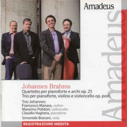 Quartetto per pianoforte e archi op. 25 [Audioregistrazione] ; Trio per pianoforte, violino e violoncello op. post. / Brahms ; Trio Johannes ; Simonide Braconi, viola