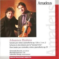 Sonate per viola e pianoforte op. 120 n. 1 e n. 2 [Audioregistrazione] ; Scherzo in do minore per la Sonata F.A.E. ; Due lieder per contralto, viola e pianoforte op. 91