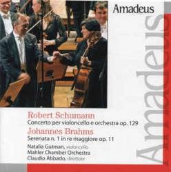 Concerto per violoncello e orchestra op. 129 [Audioregistrazione] / Schumann. Serenata n. 1 in re maggiore op. 11 / Brahms ; Natalia Gutman violoncello ; Mahler Chamber Orchestra ; Claudio Abbado direttore